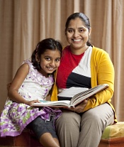 A routine colonoscopy revealed colon cancer in Sandhya, pictured with her daughter.