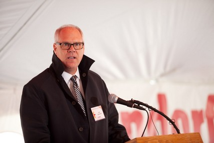 American Family Insurance chairman and CEO Jack Salzwedel addresses the crowd at the groundbreaking for UW Health at The American Center.
