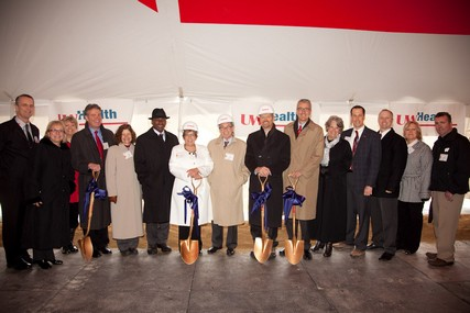 Executive Committee members from UW Hospital and Clinics and the UW Medical Foundation at the groundbreaking ceremony for UW Health at The American Center.