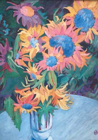 Blue Diamond Sunflowers, by David Whitish Scheifel