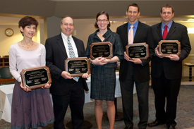 Physician Excellence Award winners: Drs. Diane Puccetti, Kenneth De Santes, Meghan Lubner, Louis Hinshaw and Jason Abel. Dr. Toby Campbell was unable to attend the ceremony.