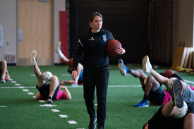 Alison Regal working with Forward Madison FC players at UW Health at The American Center.