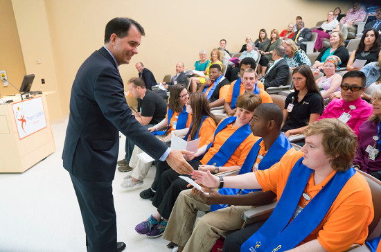 Governor Scott Walker congratulates UW Health Project SEARCH graduates