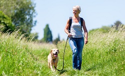 UW Health Hip Replacement Surgery: Woman hiking with dog