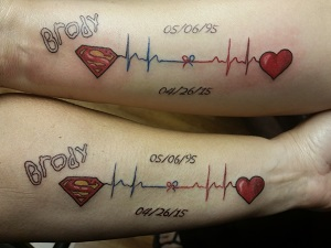 Tattoos commemorating Brody's gift
