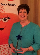 Carol Hay received the prestigious Lions Eye Bank of Wisconsin Crystal Vision Award.