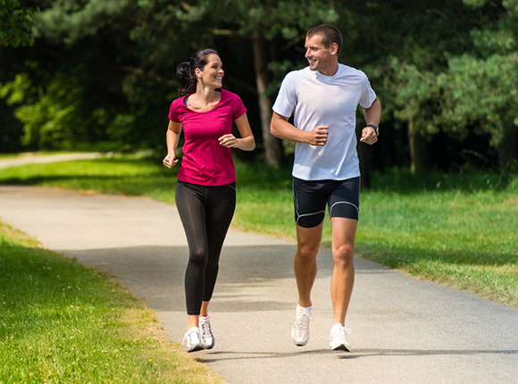 Running is an example of a dynamic exercise that is beneficial for people with high blood pressure or diabetes.