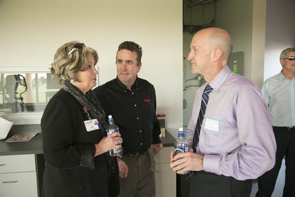 Jane Powers, the director of Orthopedics and Rehabilitation at UW Health, chats with Dr. David Bernhardt, right, in the Sports Medicine Pavilion.