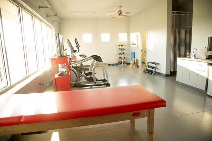 The Sports Medicine Pavilion also features stationary bicycles, medicine balls and other equipment to help athletes rehabilitate injuries.