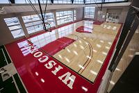 The American Center features a full-court replica of the Kohl Center court where the Badgers play.