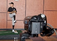 UW Health Sports Performance throwing analysis program: Young pitcher throwing from an indoor mound