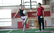 UW Health Sports Performance soccer training: Woman dribbling a soccer ball