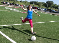UW Health Sports Performance Preseason Soccer training: Women kicking a soccer ball