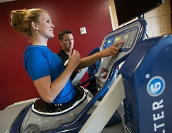 Our sports rehabilitation physical therapists use the AlterG treadmill to improve an athlete's rehabilitation regimen.