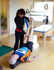 Pilates instructor and patient