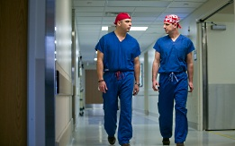 UW Health general surgery research: Two surgeons walking
