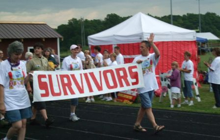 Cancer survivors walking during a charity walk