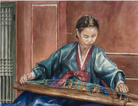 Gaygeum Player in Teal Hanbok, by Melissa Enderle