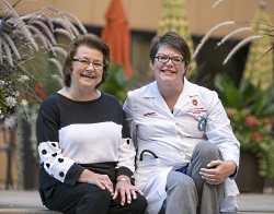 Clinical trial participant Sharon Kollman with the UW Carbone Cancer Center's Dr. Noelle LoConte.