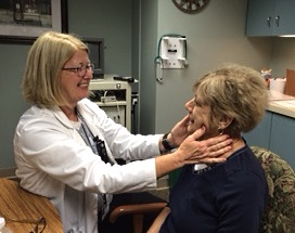 Kathleen Pazak, speech language pathologist at Forthealth Care, works with Kathy Klingbeil, right, on exercises to strengthen her voice after cancer treatment.