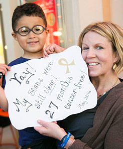 Jayden and his mom at the 2016 American Family Children's Hospital Radiothon
