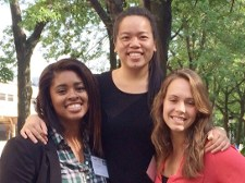 Hong, center, and two other INROADS interns in Chicago for a three-day leadership summit.