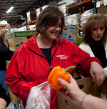 UW Hospital and Clinics clinic operations leaders donated their time to the Second Harvest Foodbank.