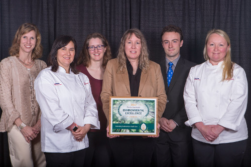 UW Health representatives attended the CleanMed 2017 conference May 16-18 in Minneapolis to accept two Practice Greenhealth awards on behalf of UW Health: The Partner for Change Award and the Circles of Excellence in Healthy Food Award. Pictured (left to right): Meghan Warren, DO, anesthesiology; Lisa Bote, sous chef; Karin Zuegge, MD, anesthesiology and medical director of sustainability; Mary Evers Statz, program director, sustainability; Max Christman, sustainability specialist; and Ellen Ritter, executive chef.