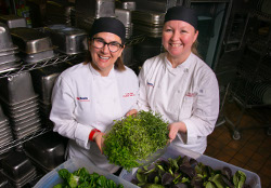 Executive chef Ellen Ritter (right) and sous chef Lisa Bote are committed to offering Clean Fresh Food to all UW Health employees, faculty, patients and visitors.