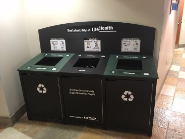 Sustainability at UW Health is committed to maintaining and improving upon our 45 percent recycling rate with custom bins like this one outside of University Hospital's Mendota Market.