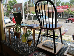The view from the Absolutely Art front window facing Atwood Avenue, with the Project Ahh! creations featured prominently.