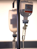 Medicines on IV pole. Rare procedure performed at American Family Children's Hospital to fight childhood cancer