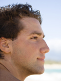 man's profile, chin implantation/augmentation