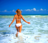 woman on the beach, liposuction