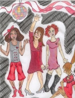Go Red Girl Scout Online Art Gallery; Drawing of Four Women Dancing by Catherine E