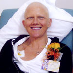 Bev on her last day of chemotherapy