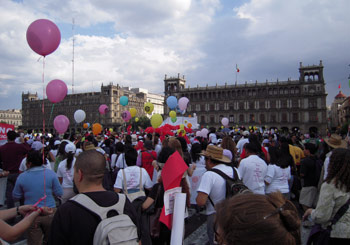 International Women's March, streets of Centro Histórico, Mexico City