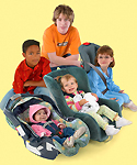 Kids in child safety seats