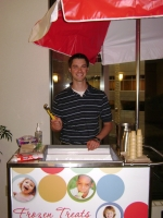 Ryan Wagner, Volunteer with the UW Carbone Cancer Center, Scoops Ice Cream for cancer patients