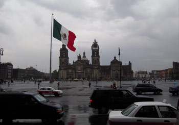 Mexico City Z*colo (Playa de la Constitución), second largest public plaza in the world behind Red Square in Moscow; Catedral Metropolitana in background