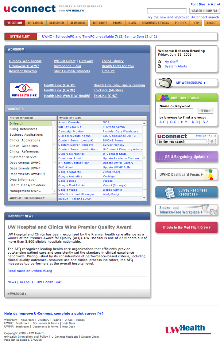 Old U-Connect Homepage