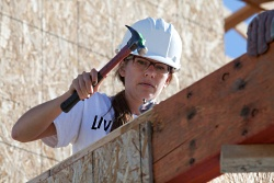 A Habitat for Humanity volunteer at UW Health's Days of Caring.