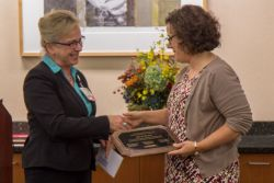 Julie Hunter receives her Community Service Award from Beth Houlahan, UW Hospital and Clinics Senior Vice President and Chief Nursing Officer (view more photos below)