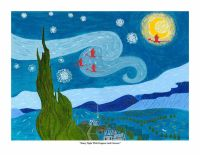 Starry Night with Dragons and Unicorn