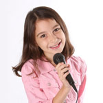 Girl with microphone, Pediatirc Performing Voice at American Family Children's Hospital