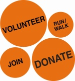 The four dots of organ donation: volunteer, run/walk, join, donate