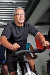 Man on a stationary bike