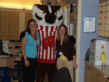 Bucky Badger found some new friends.
