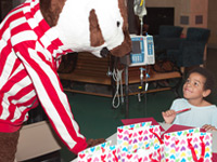 Bucky and patient during Bucky Bingo