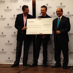Jeffrey Cohen president of Citizen Watch Company of America, Matt Kenseth and Dr. Sanjay Asthana.